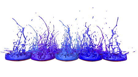 paints dance on white background. Simulation of 3d splashes of ink on a musical speaker that play music. beautiful splashes as a bright background in ultra high quality. Cold colors 41