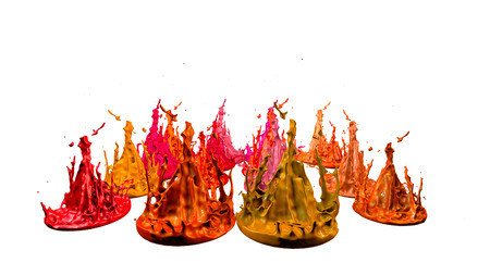 paints dance on white background. Simulation of 3d splashes of ink on a musical speaker that play music. beautiful splashes as a bright background in ultra high quality. warm colors 42 Stock Photo
