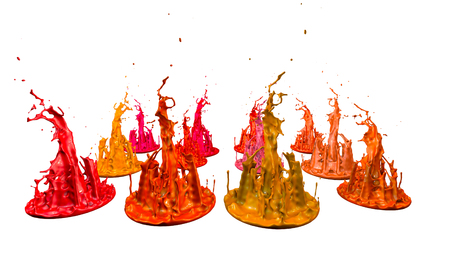 paints dance on white background. Simulation of 3d splashes of ink on a musical speaker that play music. beautiful splashes as a bright background in ultra high quality. warm colors 41