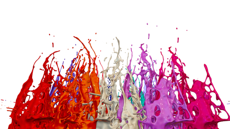paints dance on white background. Simulation of 3d splashes of ink on a musical speaker that play music. beautiful splashes as a bright background in ultra high quality. warm colors 31 版權商用圖片