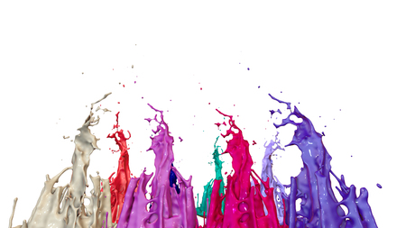paints dance on white background. Simulation of 3d splashes of ink on a musical speaker that play music. beautiful splashes as a bright background in ultra high quality. multicolor 19 Imagens