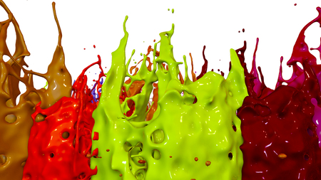 paints dance on white background. Simulation of 3d splashes of ink on a musical speaker that play music. beautiful splashes as a bright background in ultra high quality. warm colors 30