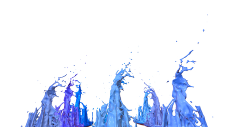 paints dance on white background. Simulation of 3d splashes of ink on a musical speaker that play music. beautiful splashes as a bright background in ultra high quality. Cold colors 27