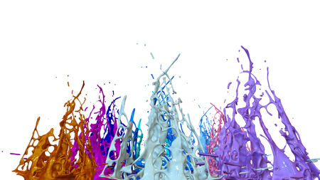 paints dance on white background. Simulation of 3d splashes of ink on a musical speaker that play music. beautiful splashes as a bright background in ultra high quality. 20 Imagens - 115656485
