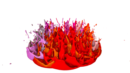 paints dance on white background. Simulation of 3d splashes of ink on a musical speaker that play music. beautiful splashes as a bright background in ultra high quality. warm colors 14