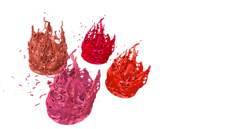 paints dance on white background. Simulation of 3d splashes of ink on a musical speaker that play music. beautiful splashes as a bright background in ultra high quality. warm colors 25 写真素材