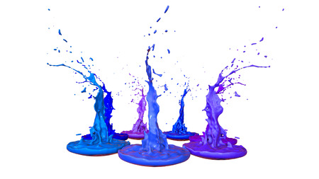 paints dance on white background. Simulation of 3d splashes of ink on a musical speaker that play music. beautiful splashes as a bright background in ultra high quality. Cold colors 18