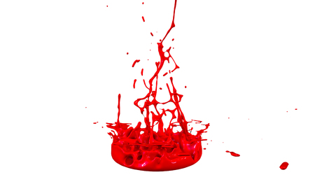 paints dance on white background. Simulation of 3d splashes of ink on a musical speaker that play music. beautiful splashes as a bright background in ultra high quality. warm colors 19 Imagens