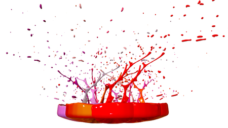 Simulation of 3d splashes of ink on a musical speaker that play music. beautiful splashes in ultra high quality. Paints dance on white background. Imagens - 117292949