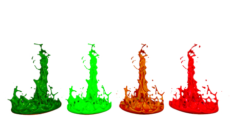 Simulation of 3d splashes of ink on a musical speaker that play music. beautiful splashes in ultra high quality. Paints dance on white background. Imagens - 117293031