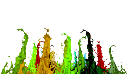 Simulation of 3d splashes of ink on a musical speaker that play music. beautiful splashes in ultra high quality. Paints dance on white background.