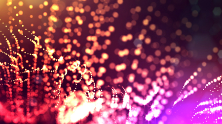 Abstract glow particles in air as science fiction microcosm or macro world or sci-fi. 3d render of abstract composition with depth of field and glowing particles in dark with bokeh effects.