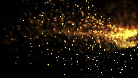 gold particles glisten in the air, gold sparkles in a viscous fluid have the effect of advection with depth of field and bokeh. 3d render. cloud of particles.