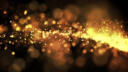 les particules d'or scintillent dans l'air, les étincelles d'or dans un fluide visqueux ont un effet d'advection avec la profondeur de champ et le bokeh. rendu 3D. nuage de particules.