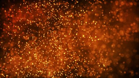 gold particles glisten in the air, gold sparkles in a viscous fluid have the effect of advection with depth of field and bokeh. 3d render