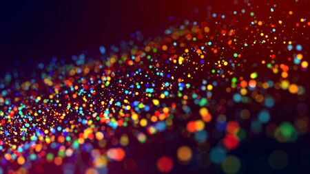 a cloud of multicolored particles in the air like sparkles on a dark background with a small depth of field. beautiful bokeh light effects with colored particles. background for holiday presentations Imagens