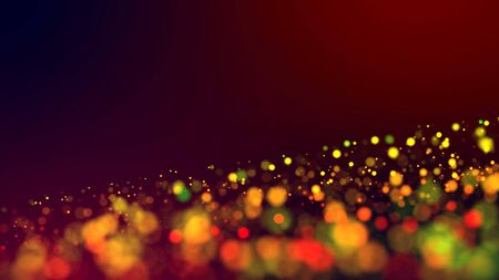 cloud of multicolored particles in the air like sparkles on a dark background with depth of field. beautiful bokeh light effects with colored particles. background for holiday presentations. Imagens