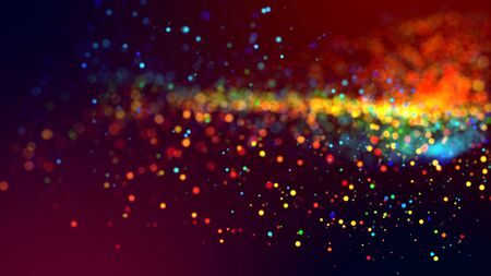 a cloud of multicolored particles in the air like sparkles on a dark background with a small depth of field. beautiful bokeh light effects with colored particles. background for holiday presentations 写真素材