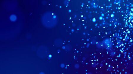 Science fiction. Des particules bleues brillantes sur fond bleu sont suspendues dans l'air pour une présentation festive lumineuse avec une profondeur de champ et des effets de bokeh légers. Version 1