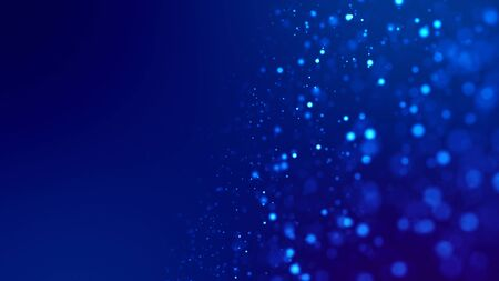 glow blue particles on blue background are hanging in air for bright festive presentation with depth of field and light bokeh effects