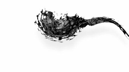 black splash like petroleum is hanging in the air. 3d rendering of liquid splash in cartoon style. 6