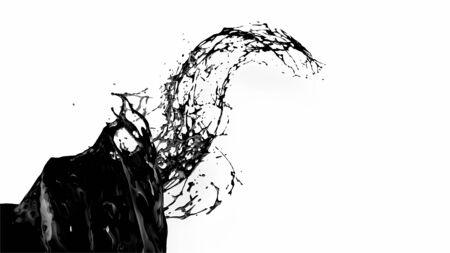 black splash like petroleum is hanging in the air. 3d rendering of liquid splash in cartoon style. 15 版權商用圖片