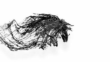 black splash like petroleum is hanging in the air. 3d rendering of liquid splash in cartoon style. 29