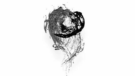 black splash like petroleum is hanging in the air. 3d rendering of liquid splash in cartoon style. 38