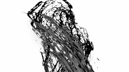 black splash like petroleum is hanging in the air. 3d rendering of liquid splash in cartoon style. 39