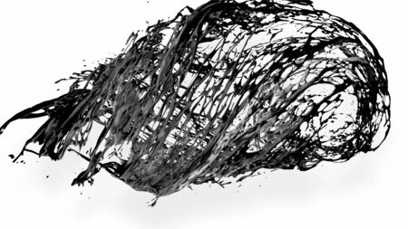 black splash like petroleum is hanging in the air. 3d rendering of liquid splash in cartoon style. 24