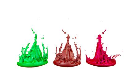 paint flew out of the jar on white background. Simulation of 3d splashes of ink on a musical speaker that play music. beautiful splashes as a bright background. Multicolor 5