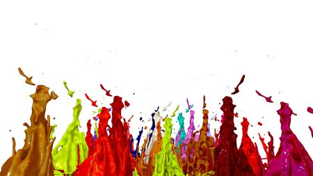 paint flew out of the jar on white background. Simulation of 3d splashes of ink on a musical speaker that play music. beautiful splashes as a bright background. Multicolor 13