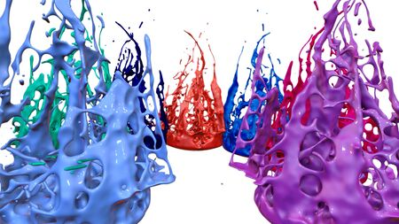 paint flew out of the jar on white background. Simulation of 3d splashes of ink on a musical speaker that play music. beautiful splashes as a bright background. Multicolor 35
