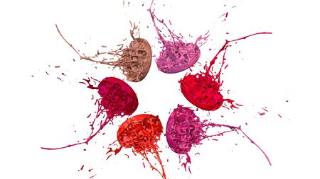 paint flew out of the jar on white background. Simulation of 3d splashes of ink on a musical speaker that play music. beautiful splashes as a bright background. Warm shades 12
