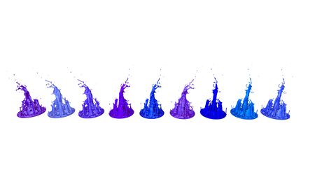 paint flew out of the jar on white background. Simulation of 3d splashes of ink on a musical speaker that play music. beautiful splashes as a bright background. Cool shades 6
