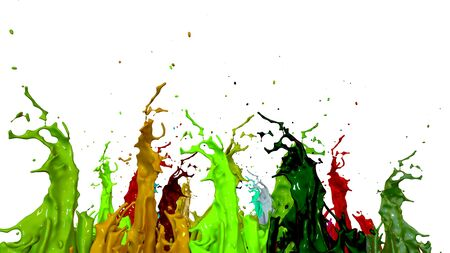 paint flew out of the jar on white background. Simulation of 3d splashes of ink on a musical speaker that play music. beautiful splashes as a bright background. Multicolor 14