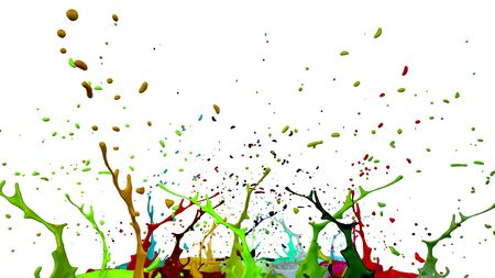 paint flew out of the jar on white background. Simulation of 3d splashes of ink on a musical speaker that play music. beautiful splashes as a bright background. Multicolor 15 Stock Photo