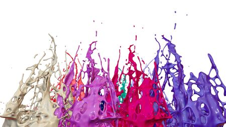 paint flew out of the jar on white background. Simulation of 3d splashes of ink on a musical speaker that play music. beautiful splashes as a bright background. Multicolor