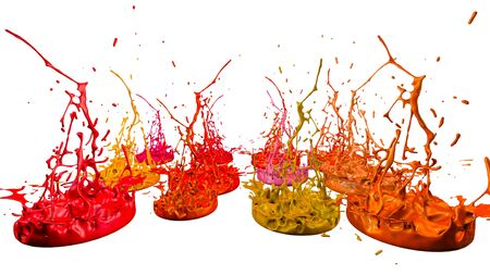 paint flew out of the jar on white background. Simulation of 3d splashes of ink on a musical speaker that play music. beautiful splashes as a bright background. Warm shades 11