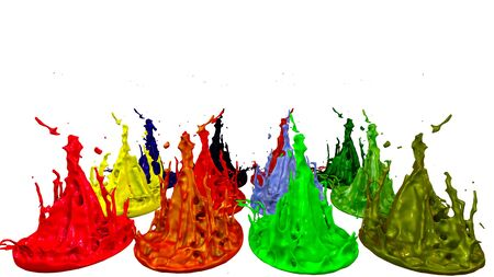 paint flew out of the jar on white background. Simulation of 3d splashes of ink on a musical speaker that play music. beautiful splashes as a bright background. Stock Photo