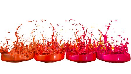 paint flew out of the jar on white background. Simulation of 3d splashes of ink on a musical speaker that play music. beautiful splashes as a bright background.