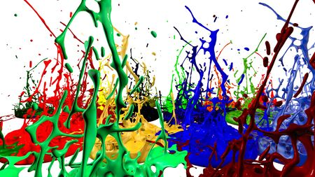paint flew out of the jar on white background. Simulation of 3d splashes of ink on a musical speaker that play music. beautiful splashes as a bright background. Foto de archivo