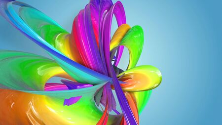 Beautiful multicolored ribbon glitters brightly. Abstract rainbow color ribbon twisted into a circular structure on a blue background. 11 Stock Photo