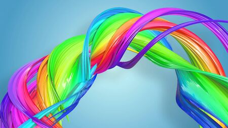 Beautiful multicolored ribbon glitters brightly. Abstract rainbow color ribbon twisted into a circular structure on a blue background. 63