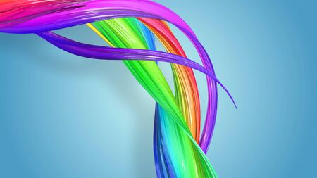 Beautiful multicolored ribbon glitters brightly. Abstract rainbow color ribbon twisted into a circular structure on a blue background. 47