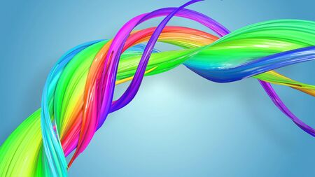 Beautiful multicolored ribbon glitters brightly. Abstract rainbow color ribbon twisted into a circular structure on a blue background. 44