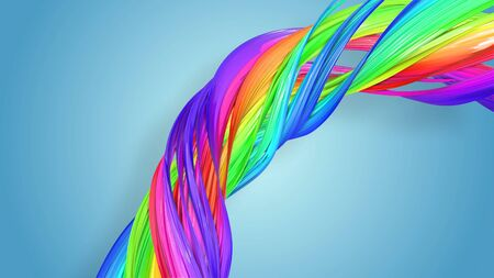 Beautiful multicolored ribbon glitters brightly. Abstract rainbow color ribbon twisted into a circular structure on a blue background. 20