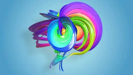 Beautiful multicolored ribbon glitters brightly. Abstract rainbow color ribbon twisted into a circular structure on a blue background. 23