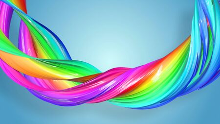 Beautiful multicolored ribbon glitters brightly. Abstract rainbow color ribbon twisted into a circular structure on a blue background. 51 Stock Photo