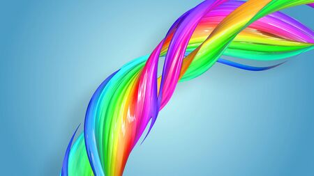 Beautiful multicolored ribbon glitters brightly. Abstract rainbow color ribbon twisted into a circular structure on a blue background. 54 Stock Photo